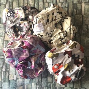 Bamboo One-Size Pocket Diapers Lot of 4